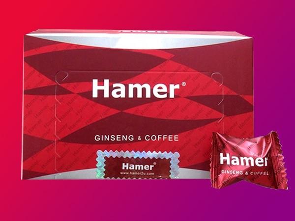 Hình ảnh mặt trước của hộp kẹo sâm Hammer